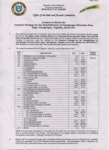 ITB-Contract Package for the Rehabilitation of Cabugbugan Diversion Dam_Pg1