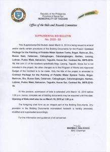 Supplemental Bid Bulleting No 2019-03